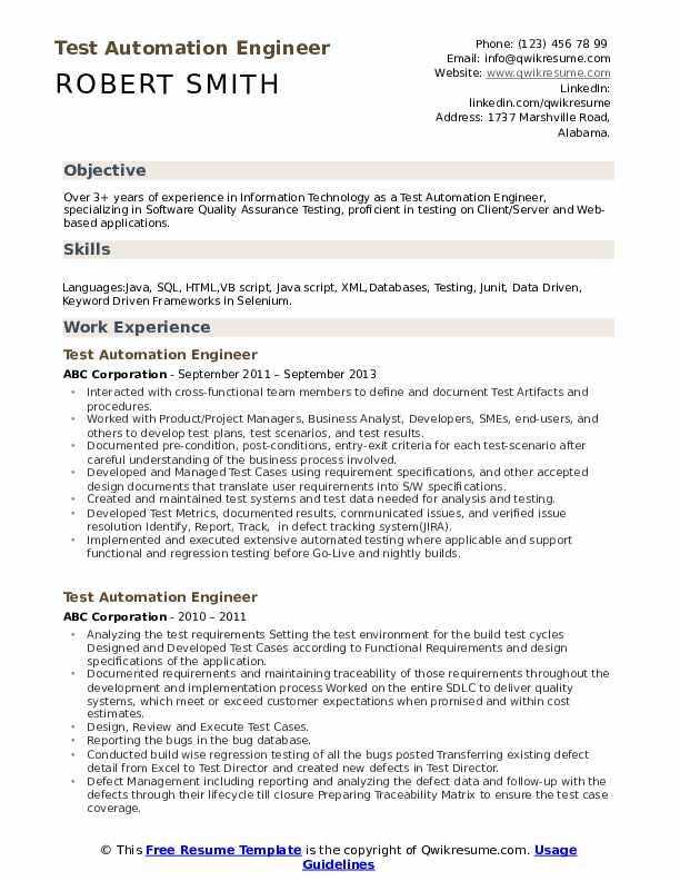 test automation engineer resume samples