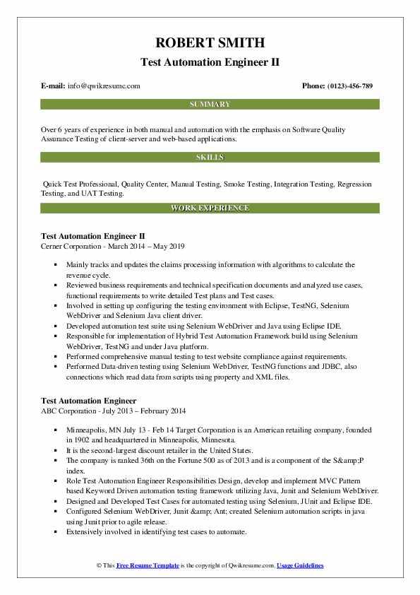 Test Automation Engineer II Resume Example