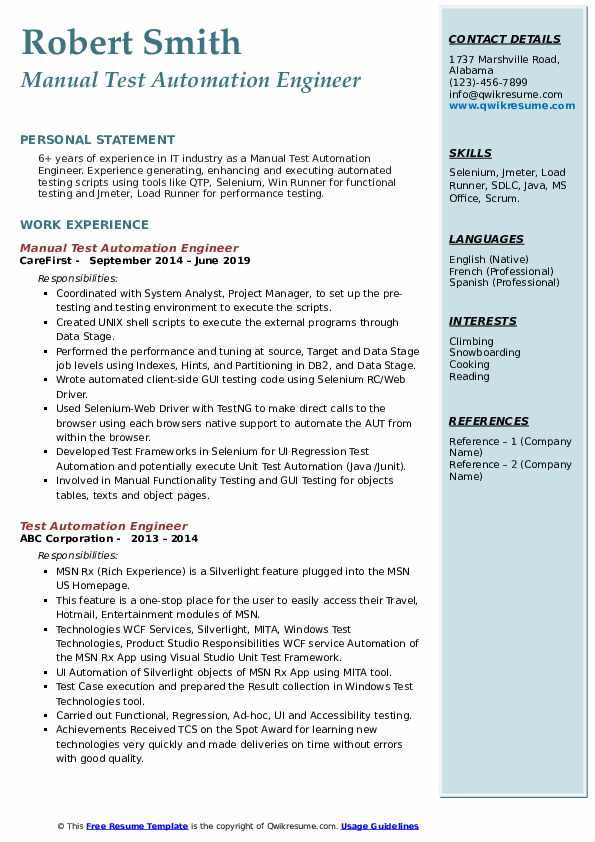 Manual Test Automation Engineer Resume Template