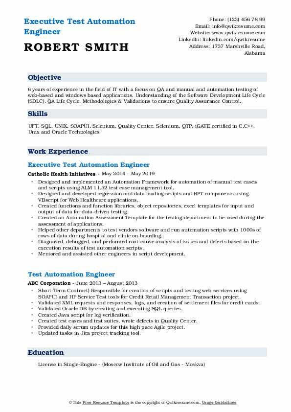 Executive Test Automation Engineer Resume Format