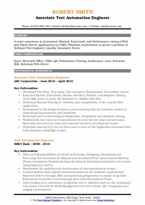 Associate Test Automation Engineer Resume Format