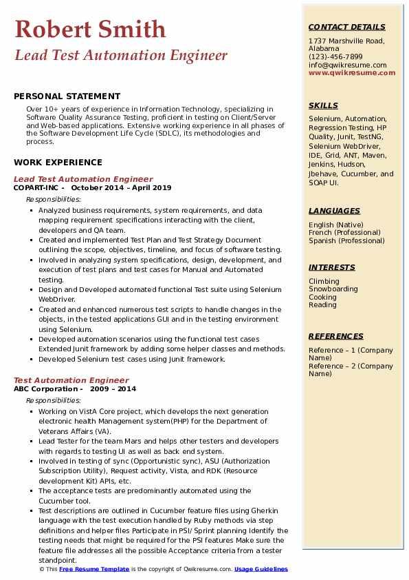Lead Test Automation Engineer Resume Format