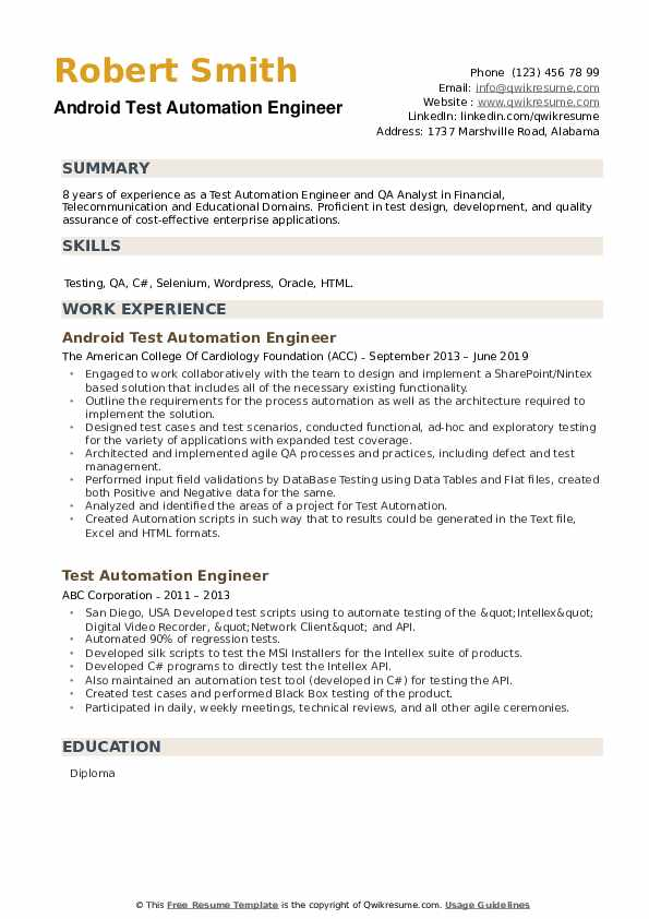 Android Test Automation Engineer Resume Sample