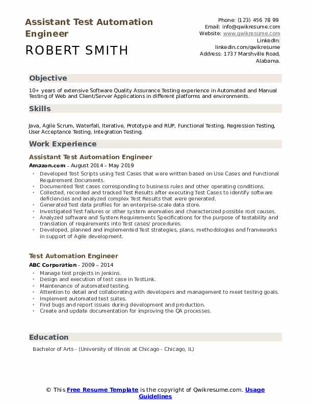 Assistant Test Automation Engineer Resume Sample