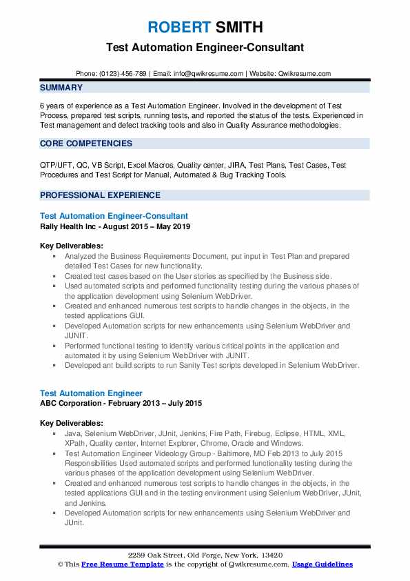 Test Automation Engineer-Consultant Resume Format