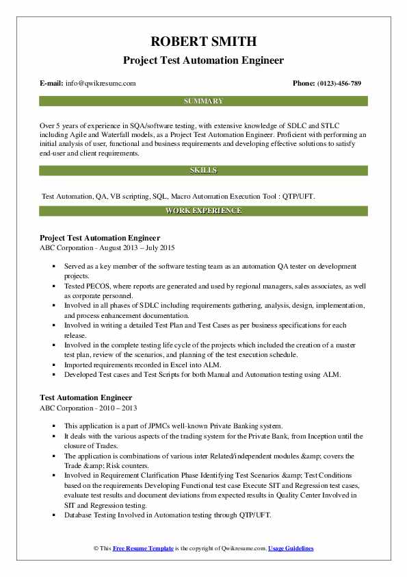 Project Test Automation Engineer Resume Example
