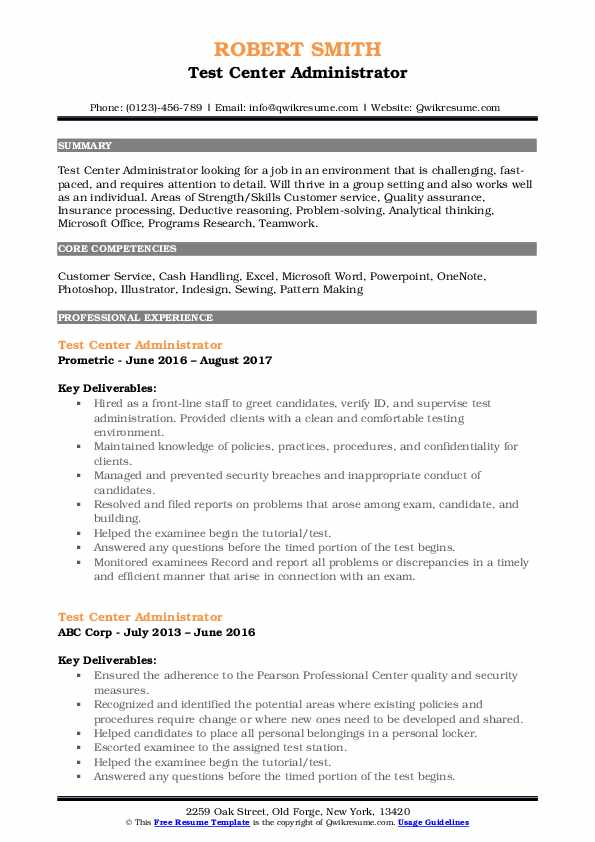 Test Center Administrator Resume Samples Qwikresume