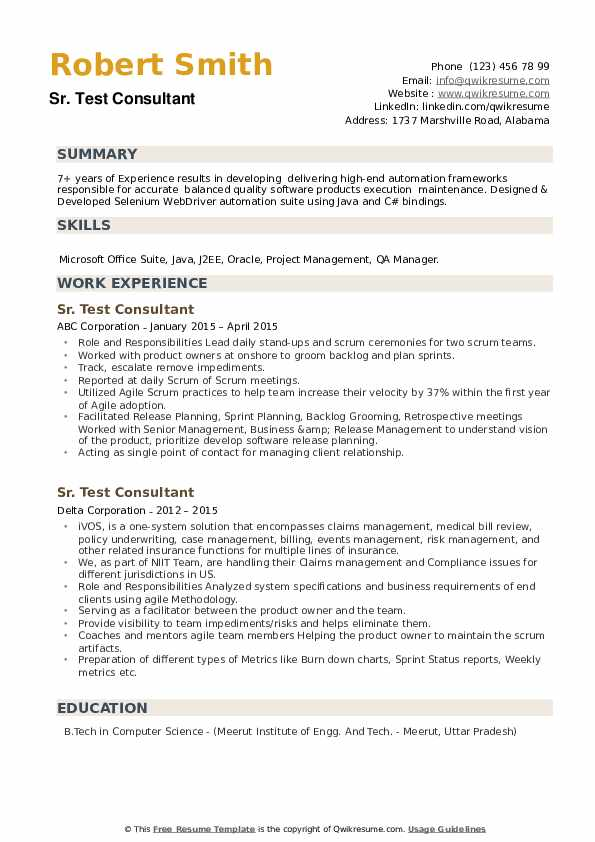 Test Consultant Resume example
