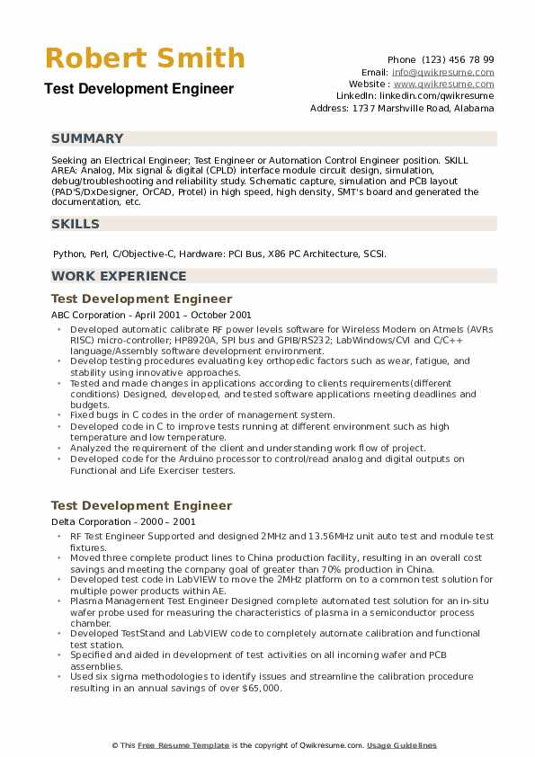 Test Development Engineer Resume example