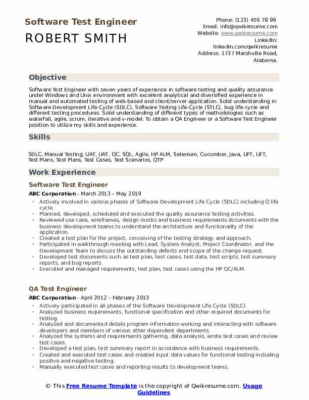 Software Test Engineer Resume Model
