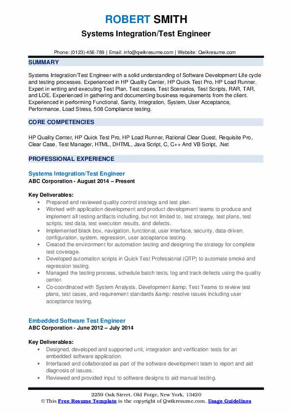 Systems Integration/Test Engineer Resume Sample