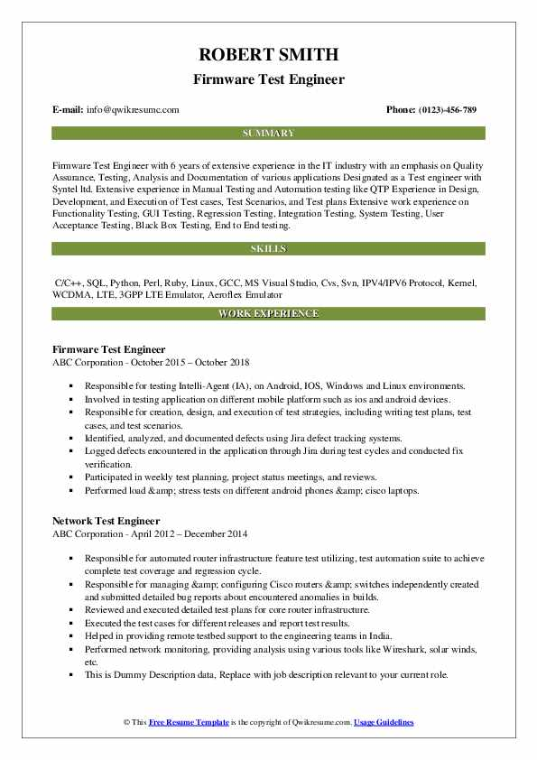 Firmware Test Engineer Resume Model