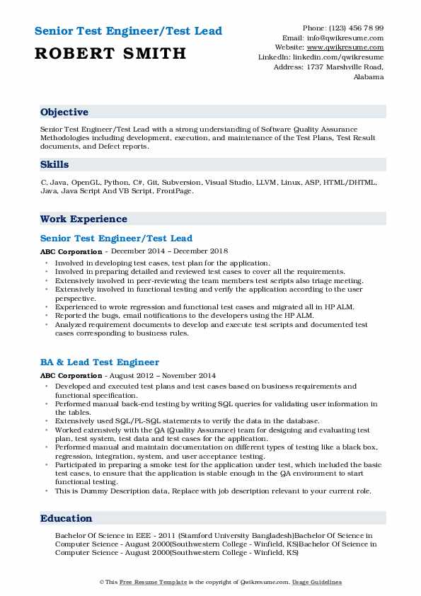 Senior Test Engineer/Test Lead Resume Sample