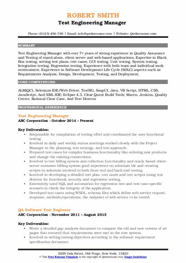 Test Engineering Manager  Resume Format