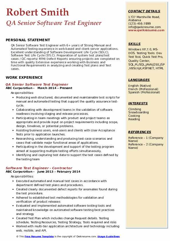 QA Senior Software Test Engineer Resume Format