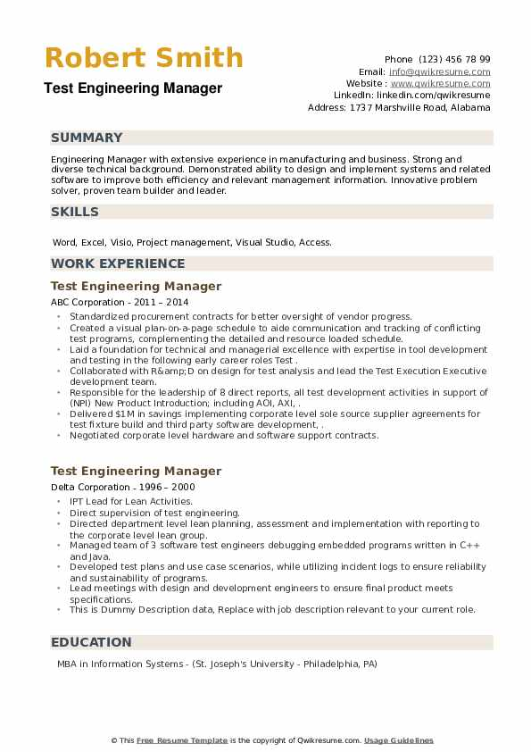 Test Engineering Manager Resume example