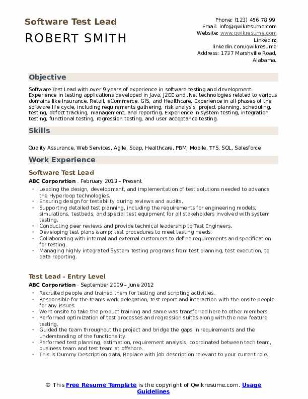 Software Test Lead Resume Template