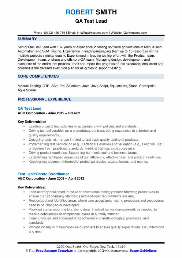 test lead resume samples