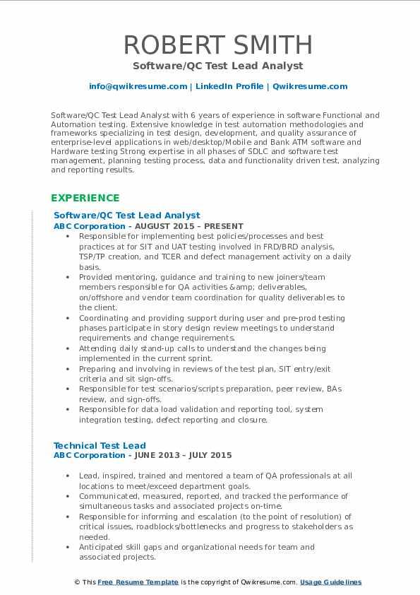 test lead resume samples