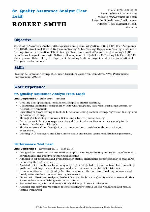 Sr. Quality Assurance Analyst (Test Lead) Resume Template