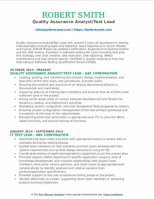 Quality Assurance Analyst/Test Lead Resume Template