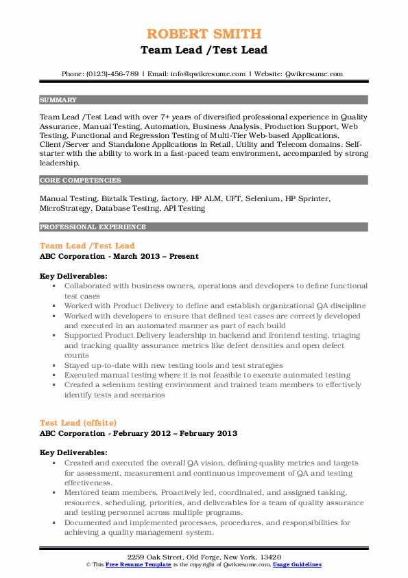 etl test lead resume