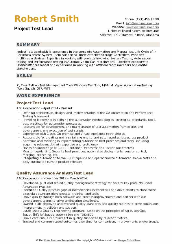 Project Test Lead Resume Sample