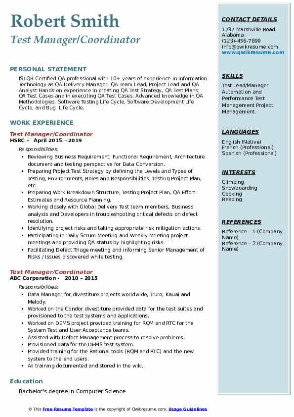 Test Manager Resume Samples