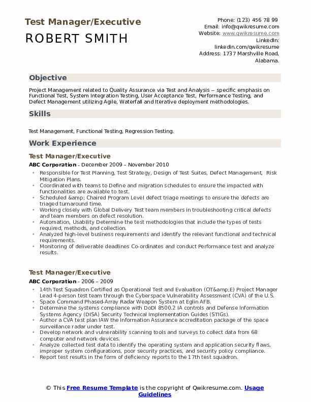 Test Manager/Executive Resume Model