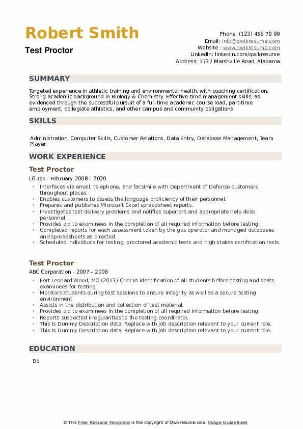 Test Proctor Resume example