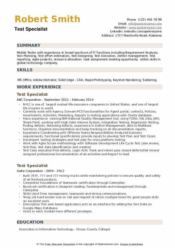 Test Specialist Resume example