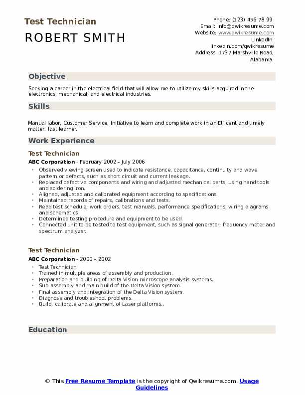 Test Technician Resume Sample