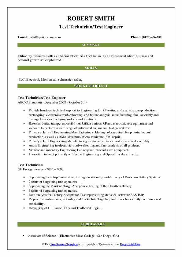 Test Technician/Test Engineer Resume Template