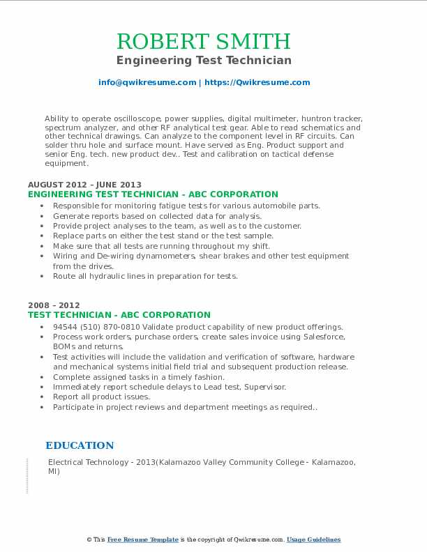 Engineering Test Technician Resume Model