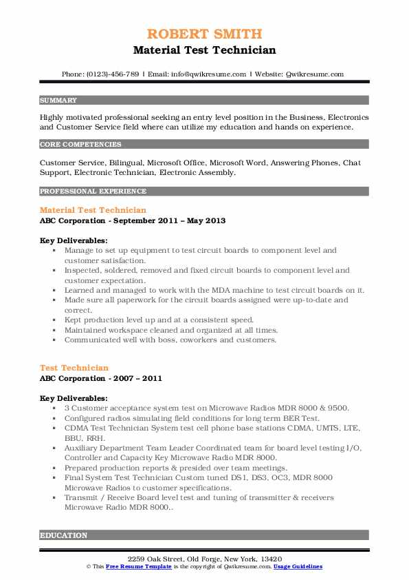 Material Test Technician Resume Model