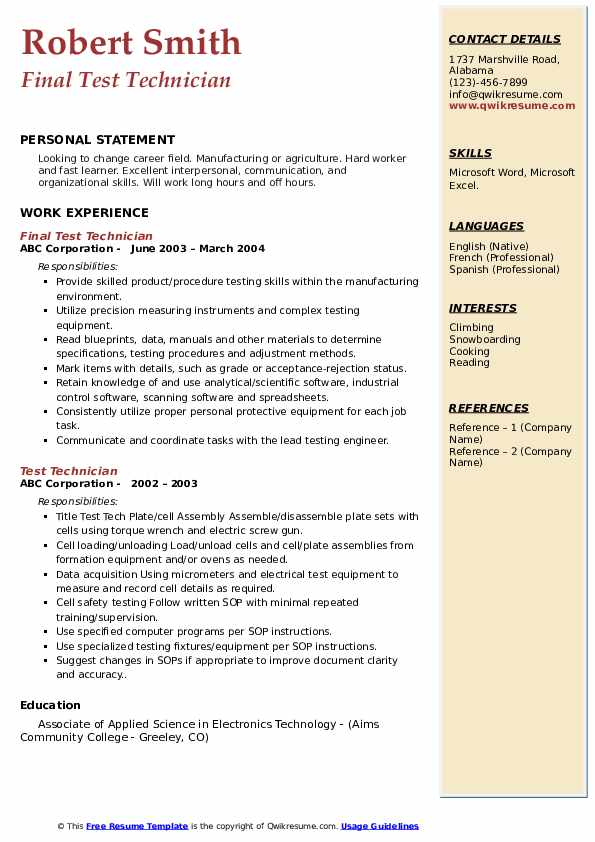 Final Test Technician Resume Model