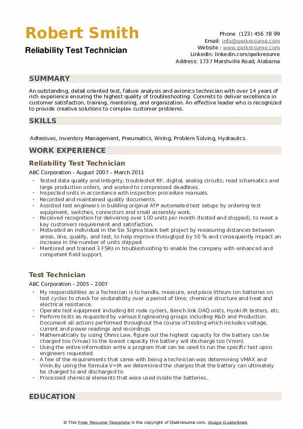 Reliability Test Technician Resume Example