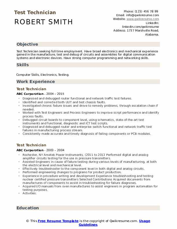 Test Technician Resume Template