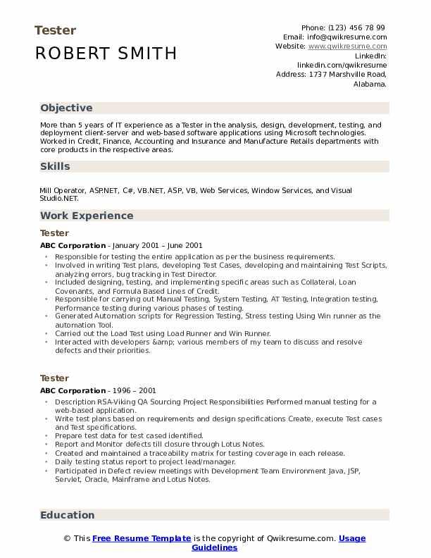 Tester Resume Model