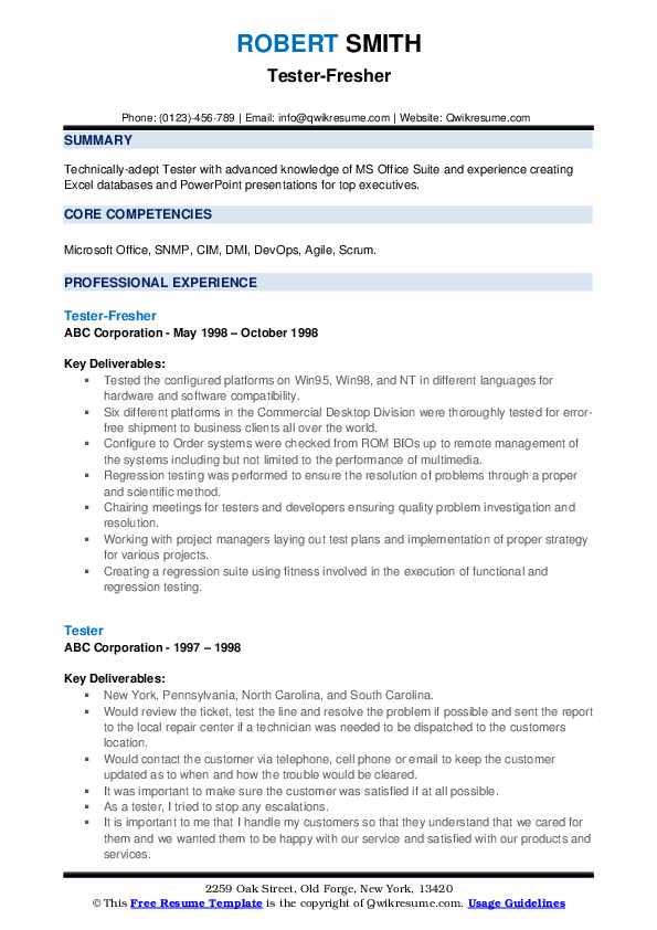 Tester-Fresher Resume Example