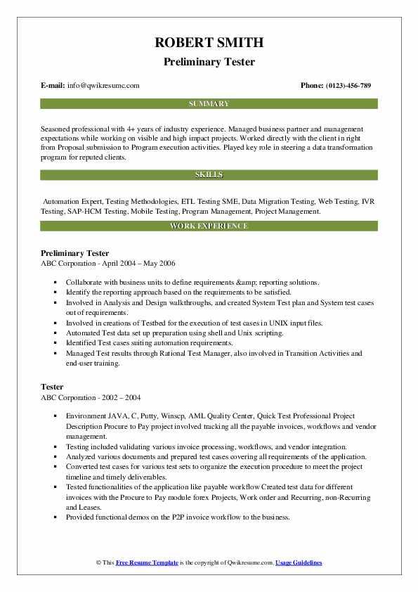 Preliminary Tester Resume Template