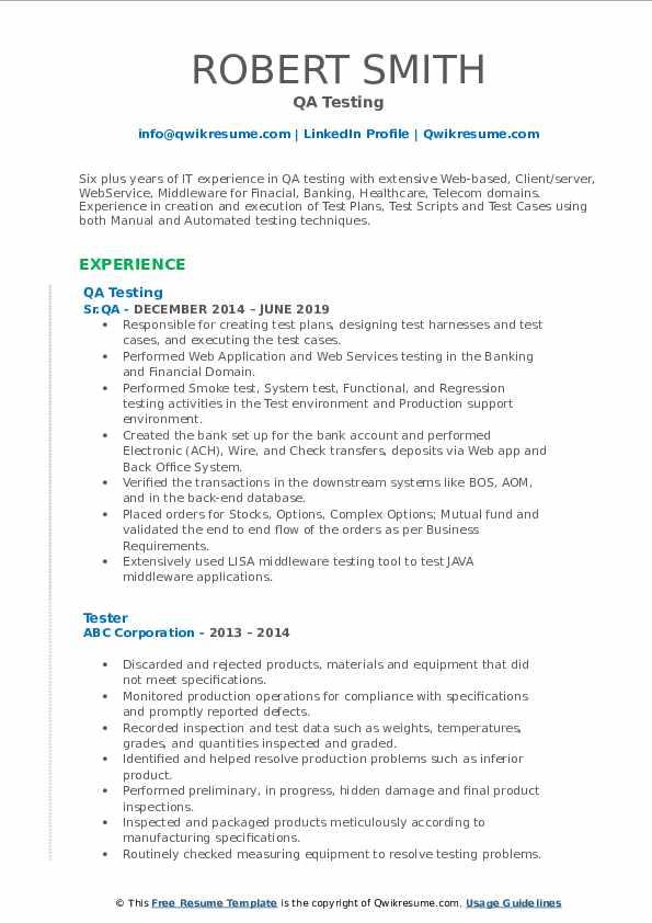 QA Testing Resume Example