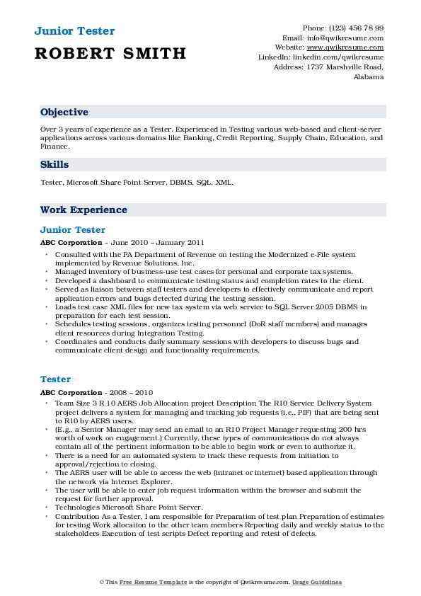 Junior Tester Resume Model