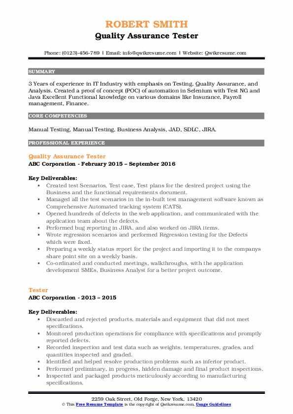 Quality Assurance Tester Resume Format