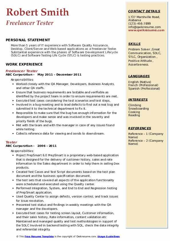 Freelancer Tester Resume Example
