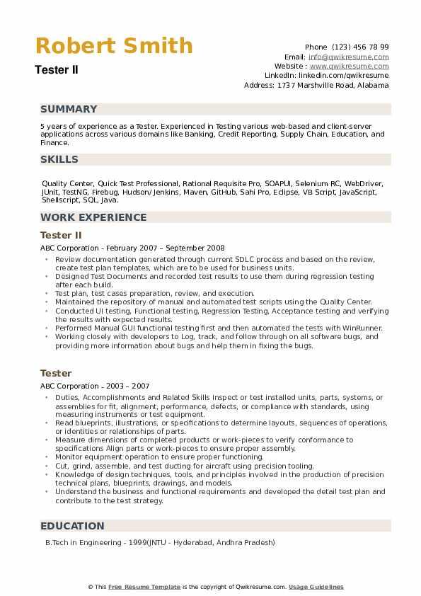 Tester II Resume Format