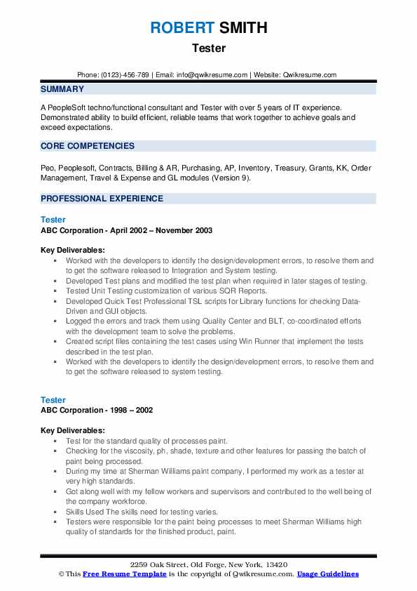 Tester Resume example