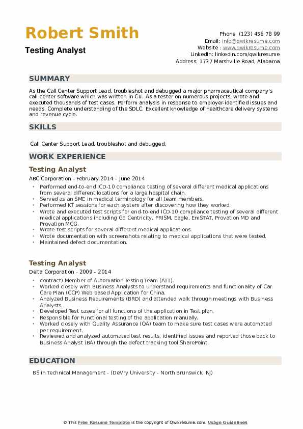 Testing Analyst Resume example