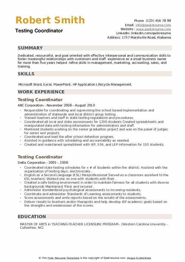 Testing Coordinator Resume example