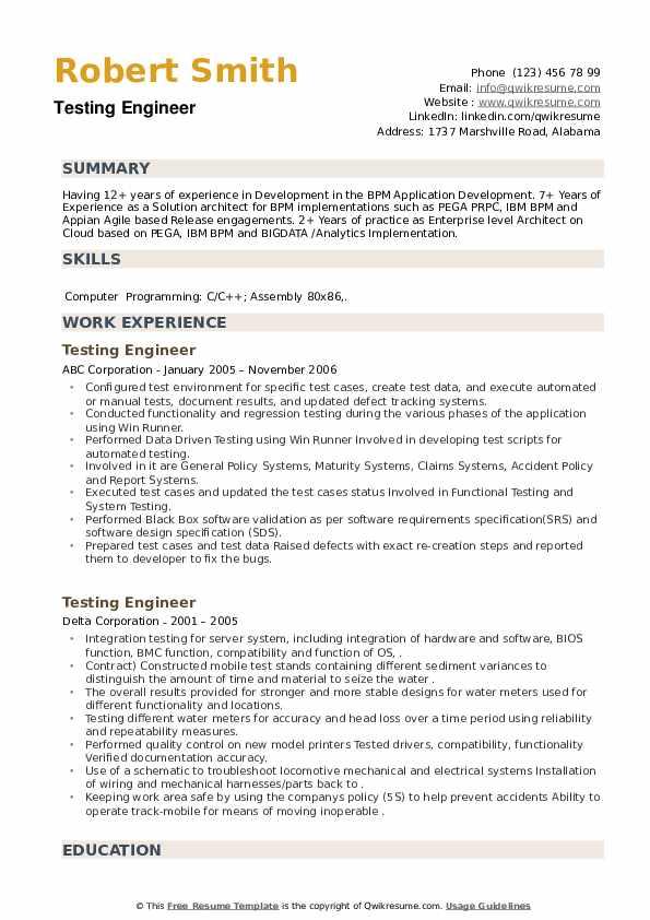 Testing Engineer Resume example